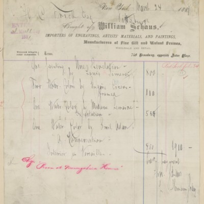 William Schaus Invoice, 24 March 1881