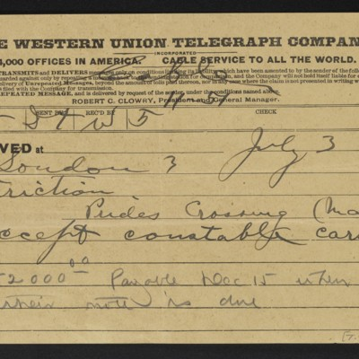 Cable from [Charles S.] Carstairs to [Henry Clay Frick], 3 July 1908 [front]