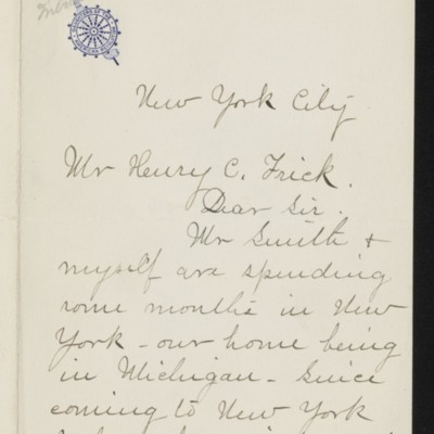 Letter from Mrs. Grenville L. Smith to Henry C. Frick, 7 April 1919 [page 1 of 2]