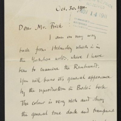 Letter from Roger Fry to Henry Clay Frick, 30 October 1911 [page 1 of 8]