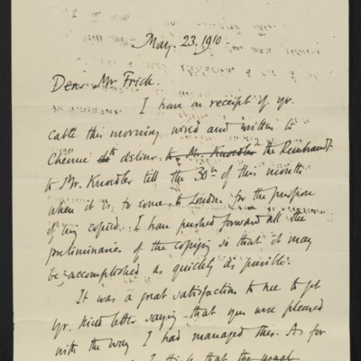 Letter from Roger E. Fry to [Henry Clay] Frick, 23 May 1910