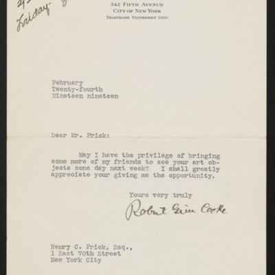 Letter from Robert Grier Cooke to Henry C. Frick, 24 February 1919