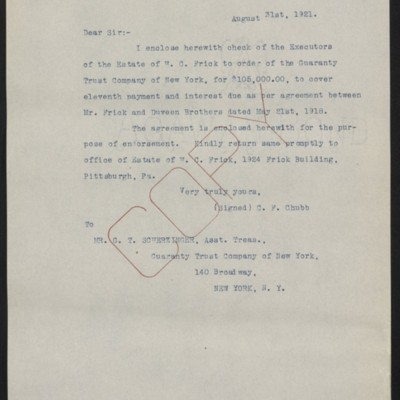 Letter from C.F. Chubb to G.T. Scherzinger, 31 August 1921