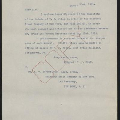Letter fromC.F. Chubbto G.T. Scherzinger, 31 August 1921