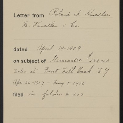 Memorandum, Office of Henry Clay Frick, 19 April 1909