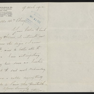 Letter from Charles S. Carstairs to F.W. McElroy, 9 March 1912