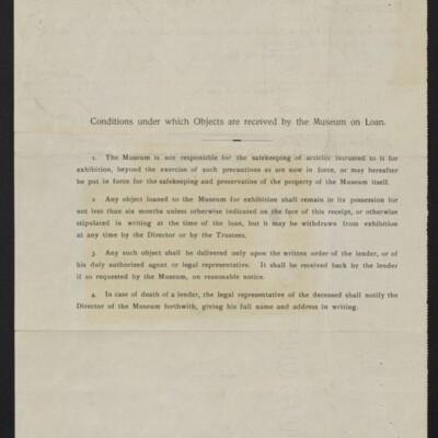 "Receipt from the Metropolitan Museum of Art for ""Pieta"" by Antonello da Messina, 7 November 1907 [back]"