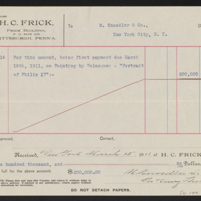 """Voucher from H.C. Frick to M. Knoedler & Co. for payment toward Velazquez's """"Portrait of Philip IV,"""" 14 March 1911 [back]"""