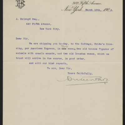 Letter from Duveen Brothers to J. Holroyd, 10 March 1908