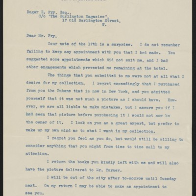Letter from Henry Clay Frick to Roger E. Fry, 18 April 1912