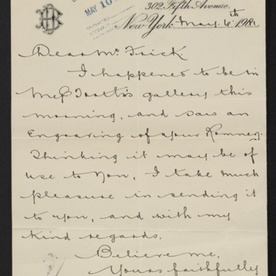 Letter from Joseph Duveen to Henry Clay Frick, 6 May 1911