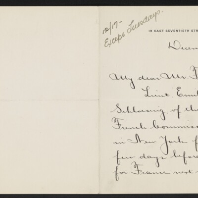 Letter from Alice V. Morris to [H.C.] Frick, 16 December 1918 [page 1 of 2]
