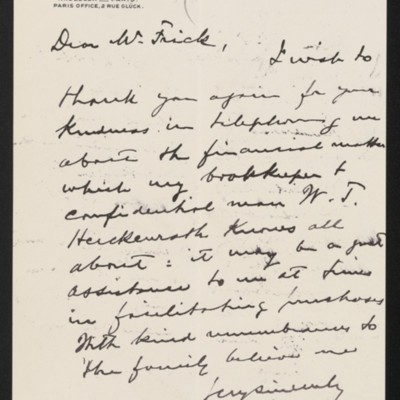 Letter from Roland F. Knoedler to Henry Clay Frick, 30 April 1902