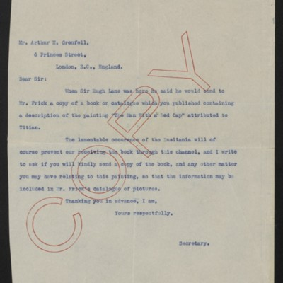 Letter from [Henry C. Frick] to Arthur M. Grenfell, 22 May 1915