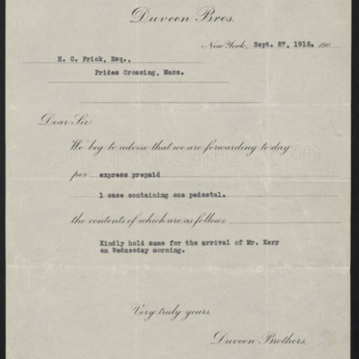 Letter from Duveen Brothers to Henry Clay Frick, 27 September 1915