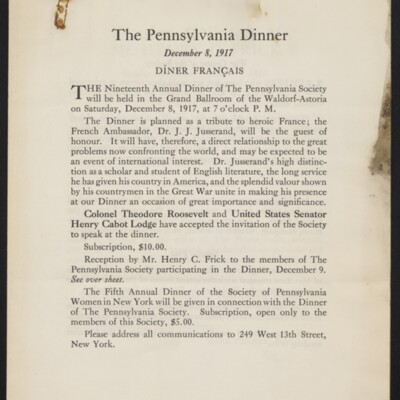 Flyer from the Society of Pennsylvania Women in New York, December 1917 [page 2 of 4]