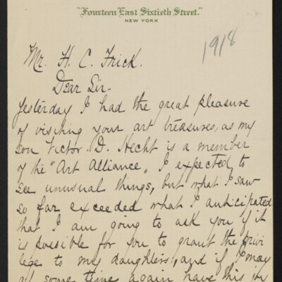 Letter from Caroline Hecht to H.C. Frick, 27 April 1918 [page 1 of 2]