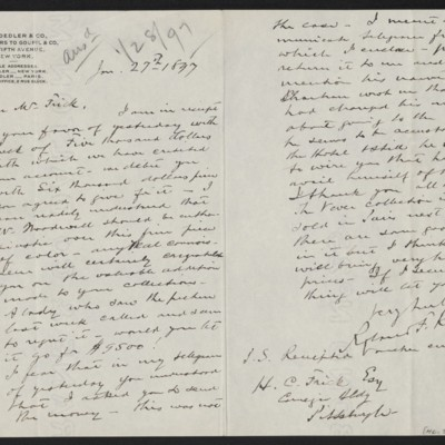Letter from Roland F. Knoedler to Henry Clay Frick, 27 January 1897
