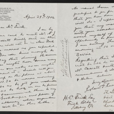 Letter from Roland F. Knoedler to Henry Clay Frick, 29 April 1902
