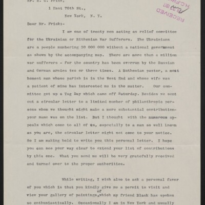 Letter from Theodore Diller to H.C. Frick, 23 April 1917 [page 1 of 2]