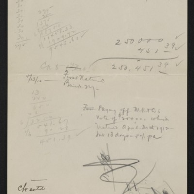 Notes regarding payments made to M. Knoedler & Co., 13 May 1912