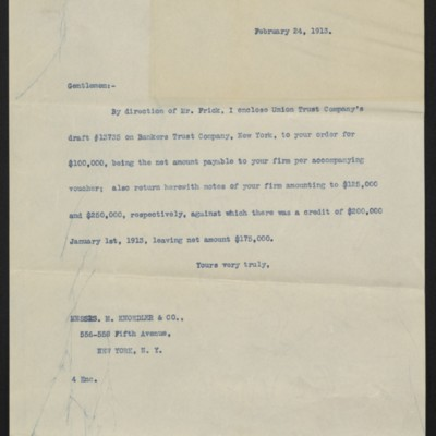 Letter from [F.W. McElroy] to M. Knoedler & Co., 24 February 1913