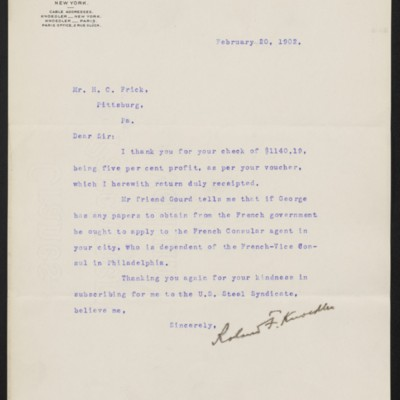 Letter from Roland F. Knoedler to Henry Clay Frick, 20 February 1902