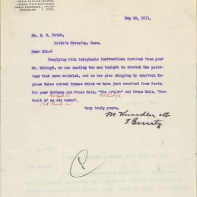 Letter from T. Gerrity of M. Knoedler & Co. to Henry Clay Frick, 22 May 1911