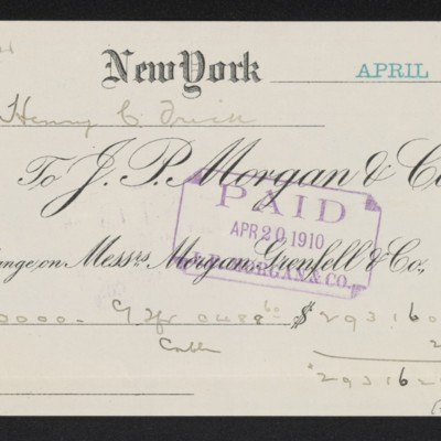 Receipt from J.P. Morgan & Co. to Henry Clay Frick, 20 April 1910