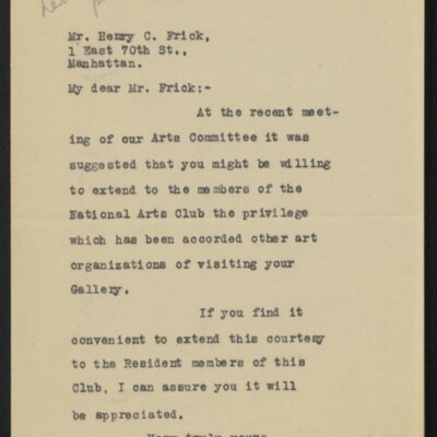 Letter from Frederick S. Lamb to Henry C. Frick, 14 May 1918
