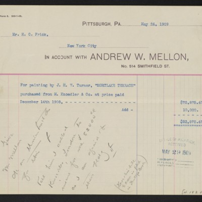 """Invoice from Andrew W. Mellon for Turner's """"Mortlake Terrace,"""" 26 May 1909"""