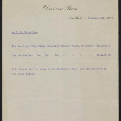 Duveen Brothers Invoice, 6 February 1907