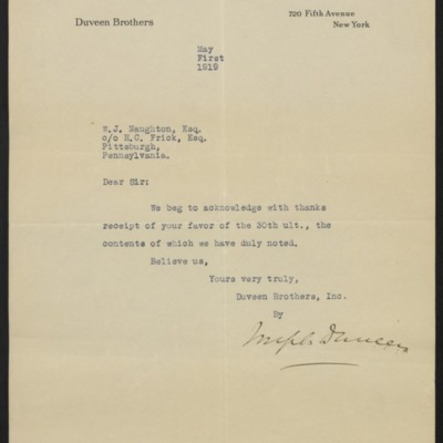 Letter from Joseph Duveen to W.J. Naughton, 1 May 1919