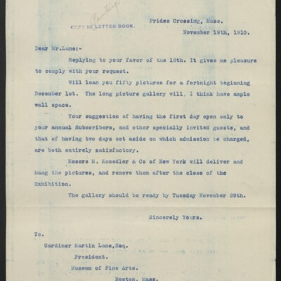 Copy of a letter from [H.C. Frick] to Gardiner Martin Lane, 19 November 1910