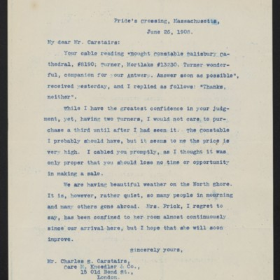 Letter from [Henry Clay Frick] to Charles S. Carstairs, 26 June 1908
