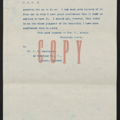 Copy of a letter from [Henry Clay Frick] to Charles S. Carstairs, 29 July 1908 [page 2 of 2]