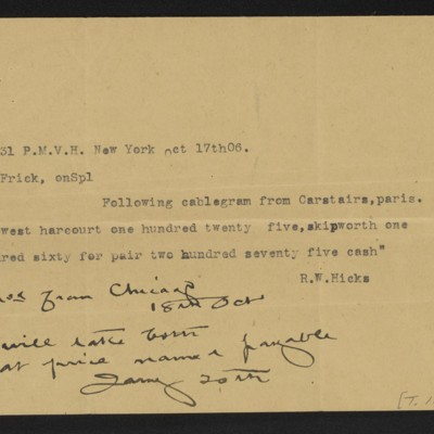 Cable from R.W. Hicks to Henry Clay Frick, 17 October 1906