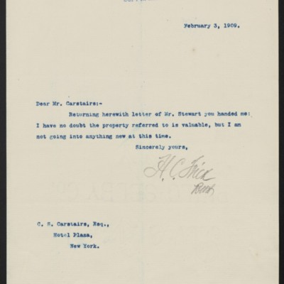 Letter from Henry Clay Frick to Charles S. Carstairs, 3 February 1909