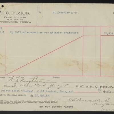 Voucher from H.C. Frick to M. Knoedler & Co., 3 July 1918 [back]