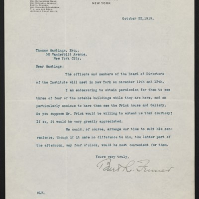 Letter from Burt L. Fenner to Thomas Hastings, 22 October 1919
