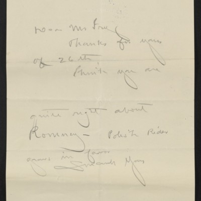 Draft of a letter form [Henry Clay Frick] to [Roger E.] Fry, [7 October 1910]