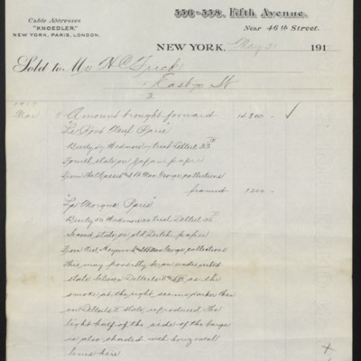 Invoice from M. Knoedler & Co. to Henry Clay Frick, 31 May 1917 [page 3 of 4]