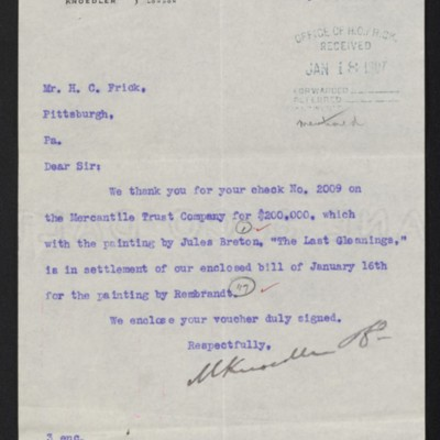 Letter from M. Knoedler & Co. to Henry Clay Frick, 17 January 1907