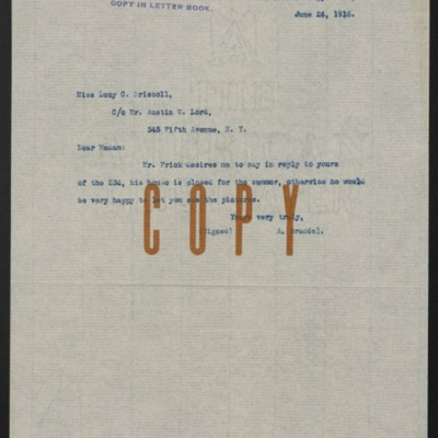 Letter from A. Braddel to Lucy C. Driscoll, 26 June 1916