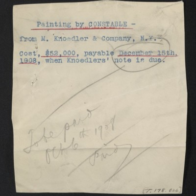 Note regarding payment for painting by Constable, 1908