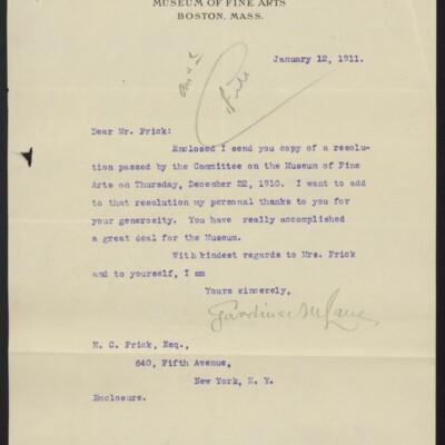 Letter from Gardiner M. Lane to H.C. Frick, 12 January 1911