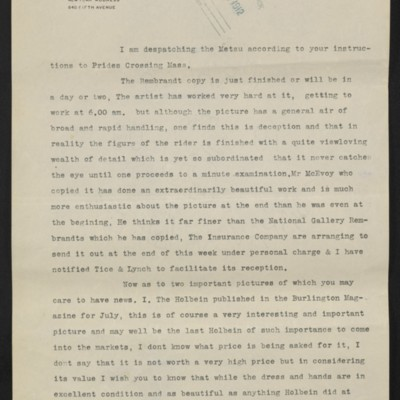 Copy of a letter from [Roger E. Fry] to [Henry Clay Frick], [6 July 1910]