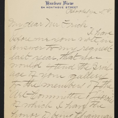 Letter from Emma F. Turtle to [H.C.] Frick, 20 November 1919 [page 1 of 4]