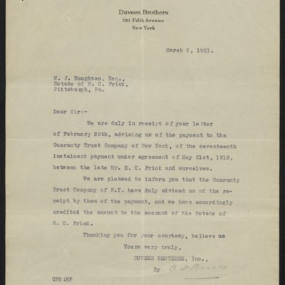 Letter from Duveen Brothers to W.J. Naughton, 5 March 1921