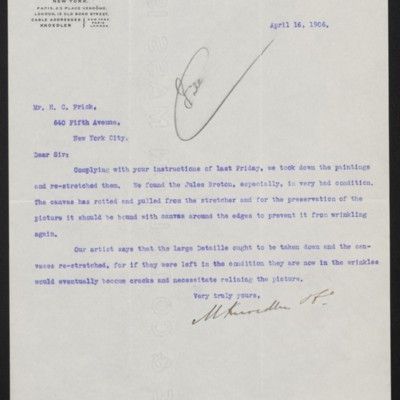 Letter from M. Knoedler & Co. to Henry Clay Frick, 16 April 1906